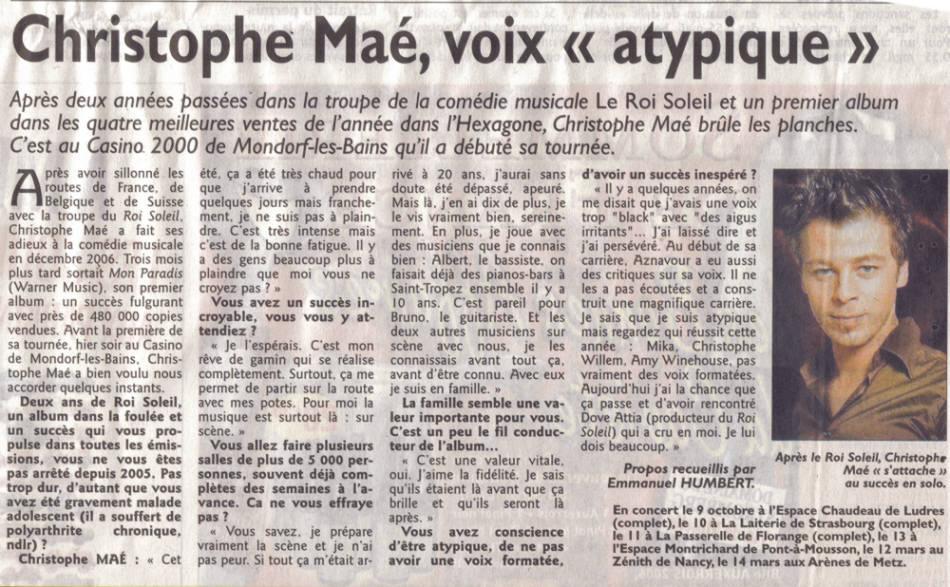 Christophe MAE dans le Republicain Lorrain Christ11