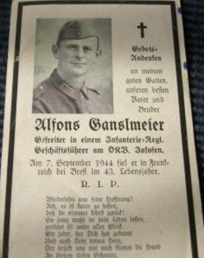 Sterbebild - Soldatenfriedhof Ploudaniel-Lesneven Ganslm10
