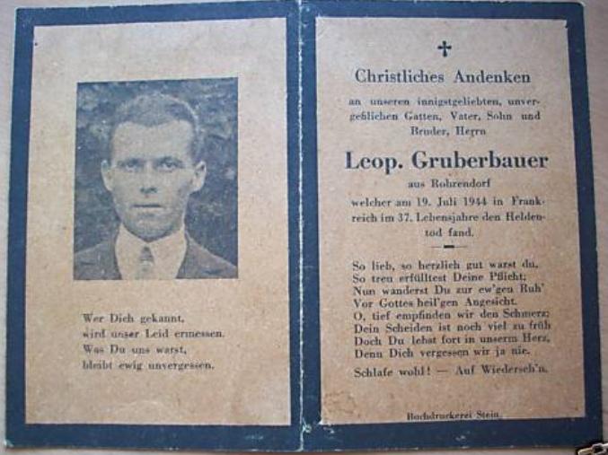 Sterbebild - Soldatenfriedhof Ploudaniel-Lesneven Gruber10