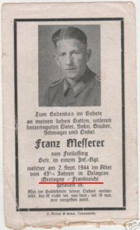 Sterbebild - Soldatenfriedhof Ploudaniel-Lesneven Messer10