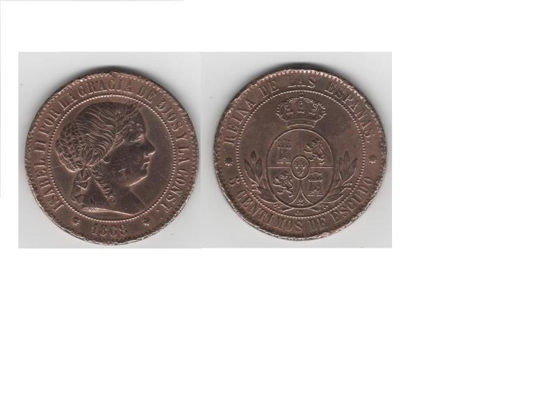 5 Cts. Escudo de Isabel II (Barcelona, 1868 d.C) Isabel10