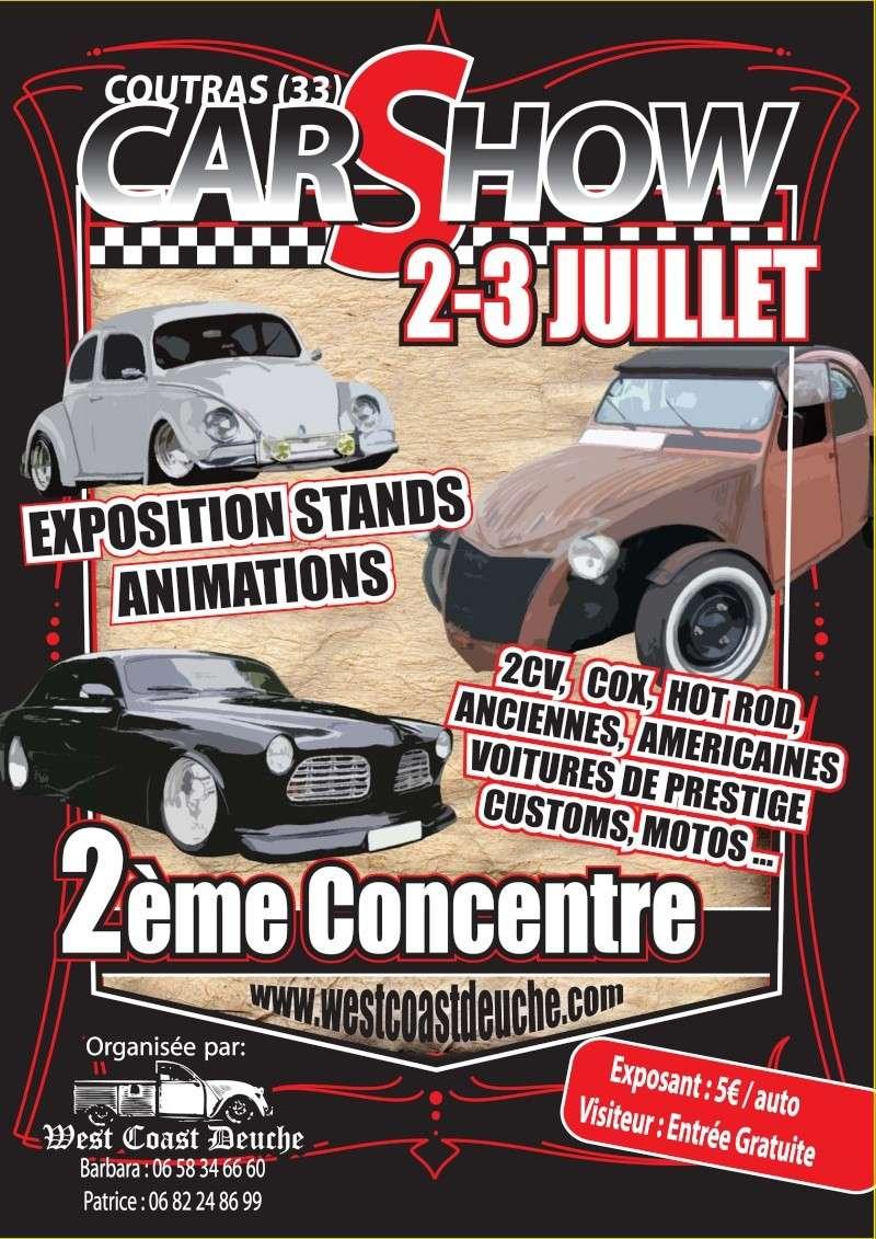 2eme Car Show a Coutras (33)/2 et 3 juillet Affich11