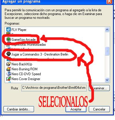 COMO PERMITIR GAMESPY Y COMANDOS 3 EN EL FIREWALL 0610