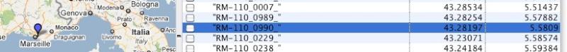 fichiers *.csv des radars Captur18