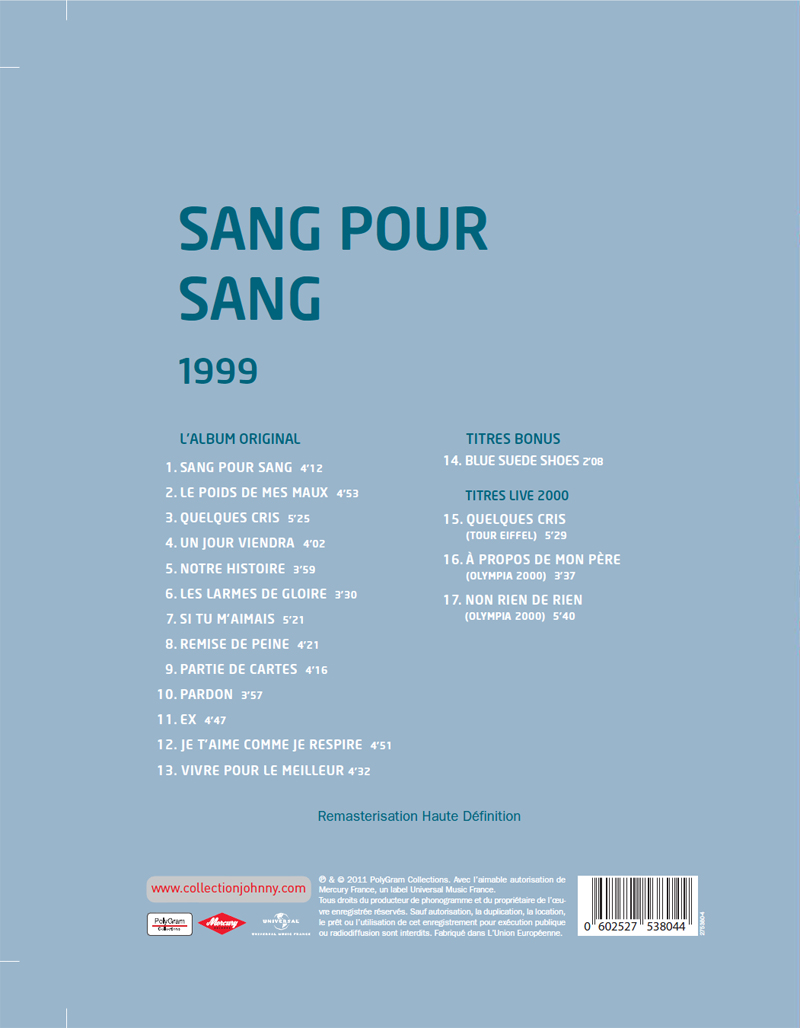 Le numéro 5: 1999 Sang pour sang Coll5b10