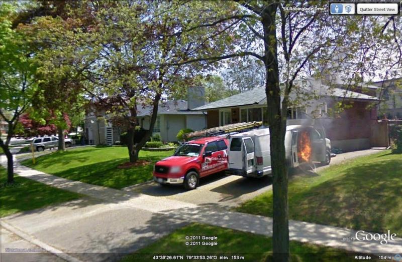 STREETVIEW: intervention des pompiers, West Deane Peak, Canada Feu_1_10