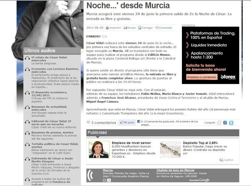 Crónica del programa de Cesar Vidal celebrado el 24 de junio en Murcia: gente dejada fuera del recinto (o expulsada sobrevenidamente) por su aspecto y el invitado estrella (el alcalde de Murcia) misteriosamente desaparecido Captur12