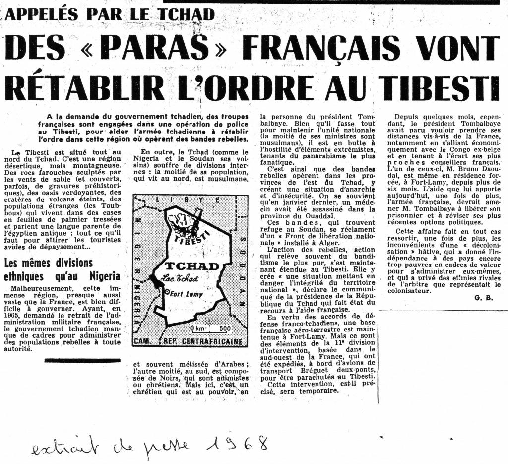 - Opération militaire Francaise : Opération ;  BISON Tchad12