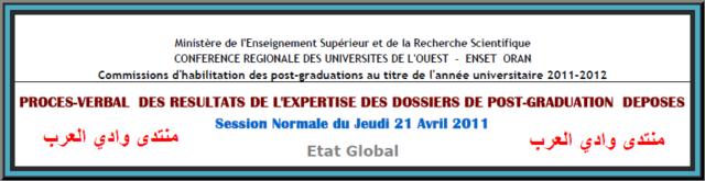 جديد ماجستير جامعات الغرب الجزائري 2011-2012 28-04-11
