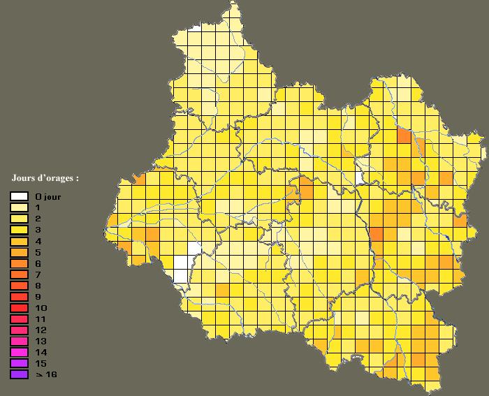 Jours d'orage par zones - 2011 Orage-10