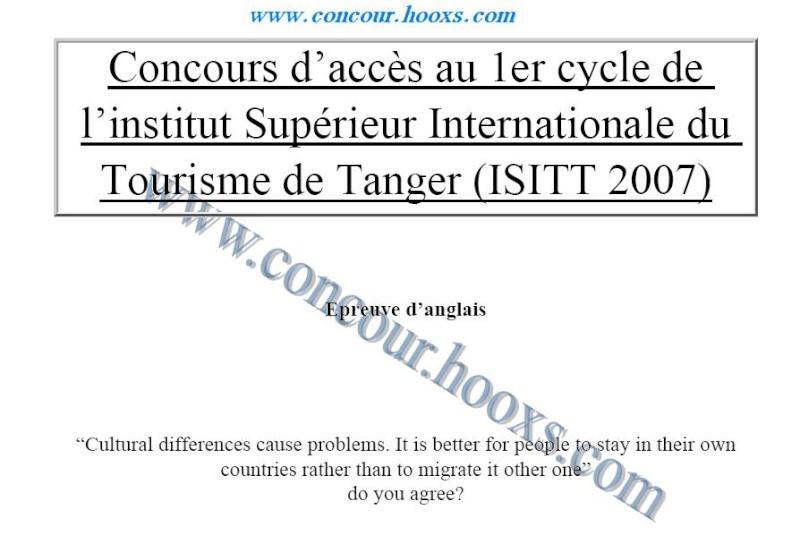 نماذج امتحانات المعهد العالي الدولي للسياحة طنجة ISIT Isitt_10
