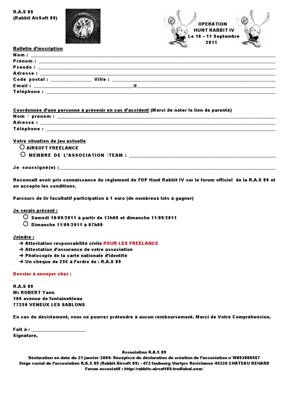 inscription Participant (s) (es) 000111