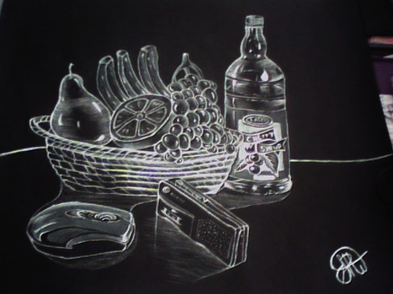 A Still life drawing on black paper  New_ar10