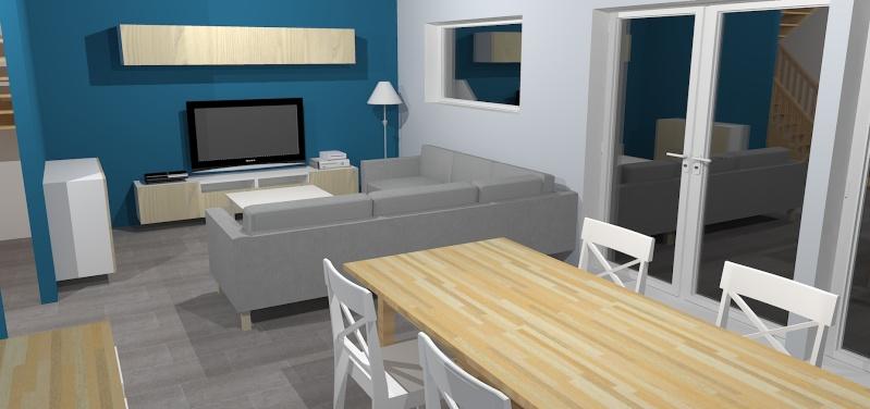 Deco Salon Gris Blanc Et Bleu Canard