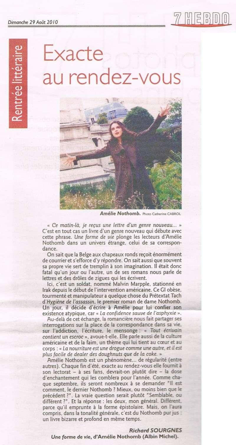 Amélie Nothomb dans le 7Hebdo du Républicain Lorrain 7hebdo10