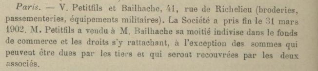 Renseignement sur un fabricant de coiffes militaires/civiles : Bailhache Paris Bullet10