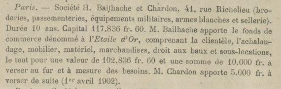 Renseignement sur un fabricant de coiffes militaires/civiles : Bailhache Paris Bullet11