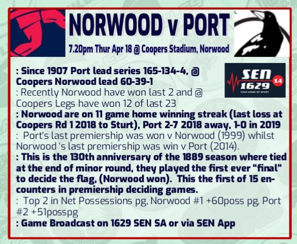 NORWOOD V PORT ADELAIDE ROUND 4 -2019 Rd_4_n10