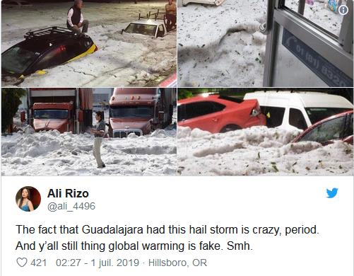 Mexique : Guadalajara sous 2 mètres de grêle après un terrible orage ! Par Victor Fortunato avec AFP Captu820