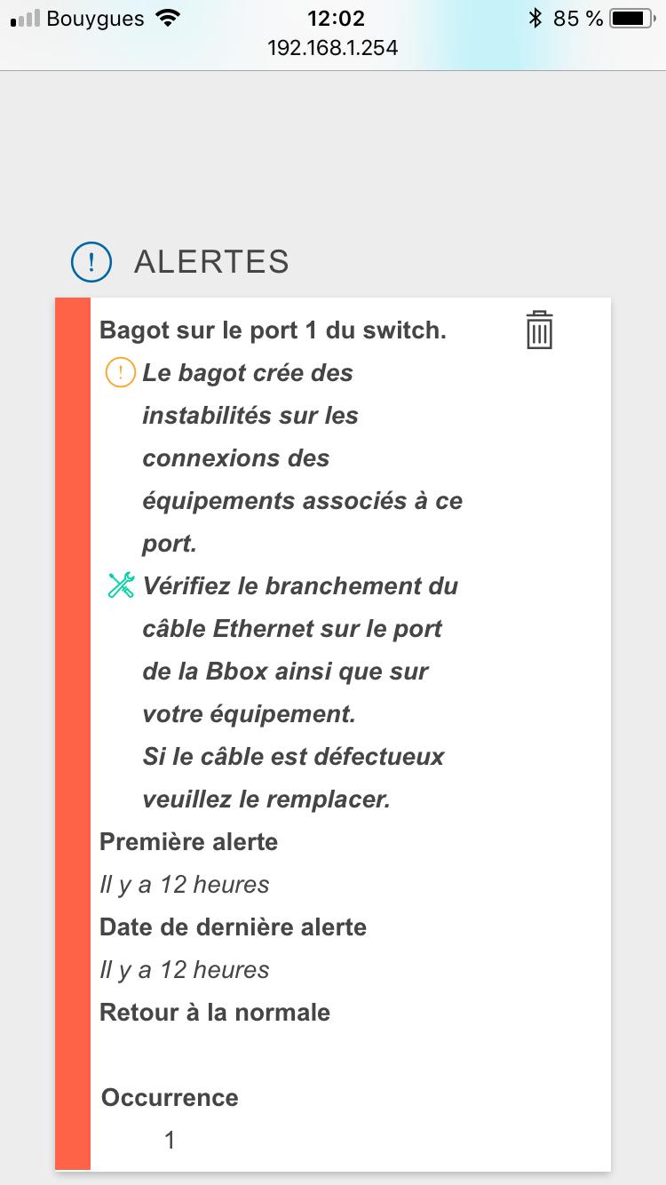 Problème port ethernet bbox 547a0e10