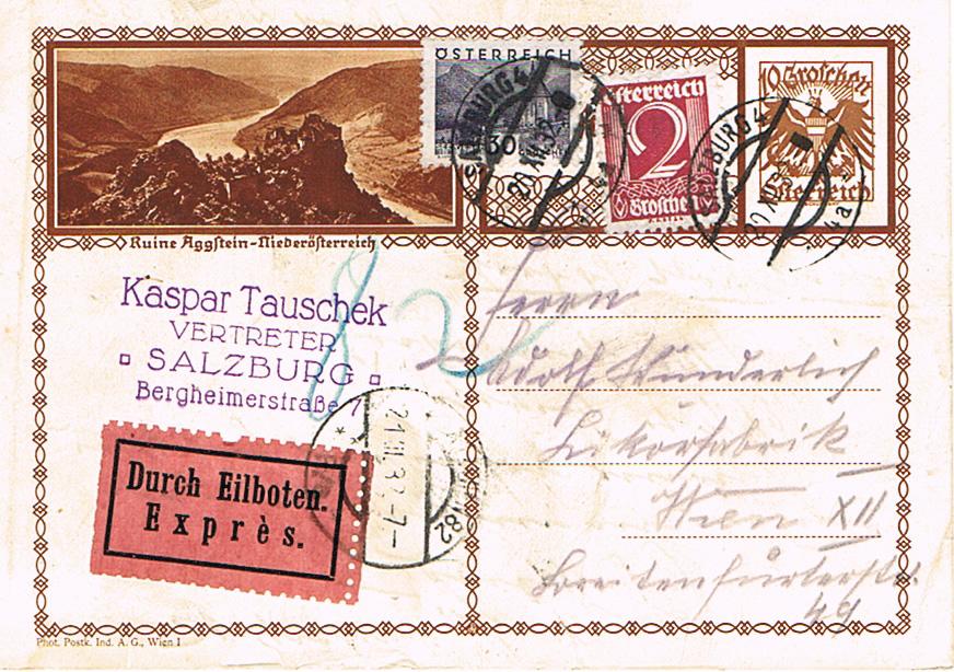 Bedarfspost Ganzsachen Österreich 1925-1938 Pk15