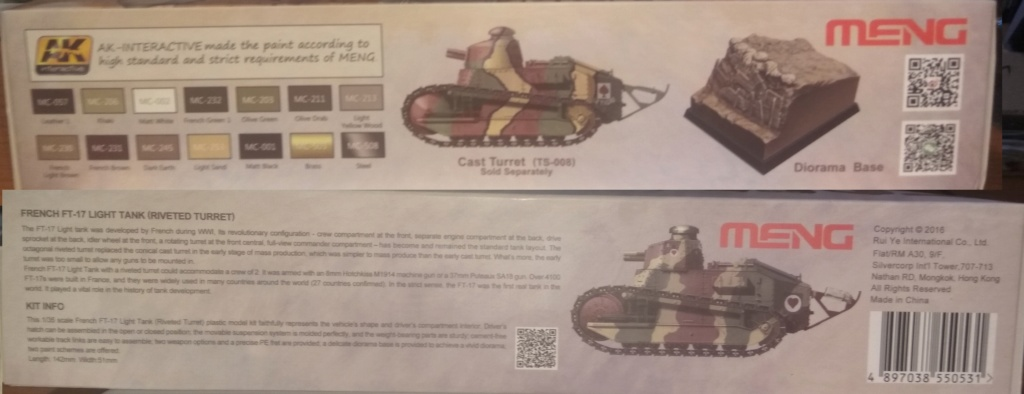 обзор лёгкий танк РЕНО FT-17 1:35 MENG TS-011 0210