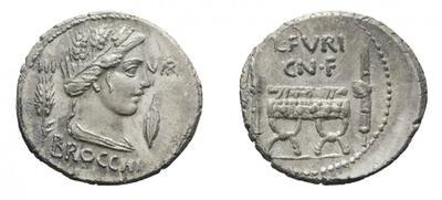 Denario de la gens Furia. L. FVRI CN. F. Silla curul entre dos fasces con hachas. Roma. 10206710