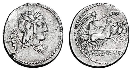 Denario de la gens Julia. L. IVLI. BVRSIO. Victoria guiando cuádriga a galope a dcha. Roma. 11957910