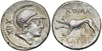 Denario de la gens Satriena. ROMA / P. SATRIE-NVS.  La loba Luperca hacia la izq. Roma. 12952410