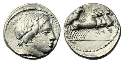 Denario anónimo. Júpiter guiando cuádriga a galope a dcha. Roma. 13288410