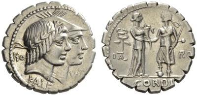 Denario de la gens Fufia/Mucia. CORDI. Italia dando la mano a  Roma. Roma. 19969010
