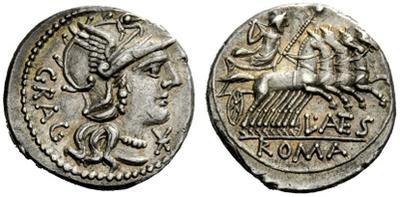 Denario de la gens Antestia. L ANTES ROMA. Júpiter en una cuádriga a dcha. Roma. 31076910
