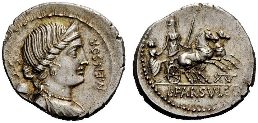 Denario de la gens Farsuleia. L FARSVLEI. Figura militar con casco (Roma?) en una biga. Roma. 31077310