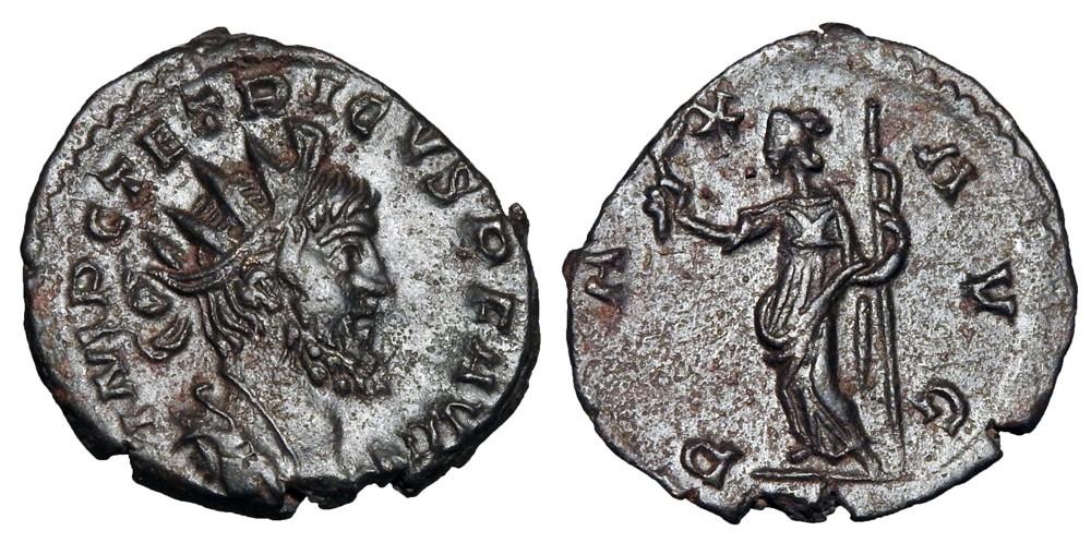 Antoniniano de Tétrico I. PAX AVG. Pax estante a izq. Roma. 32698010