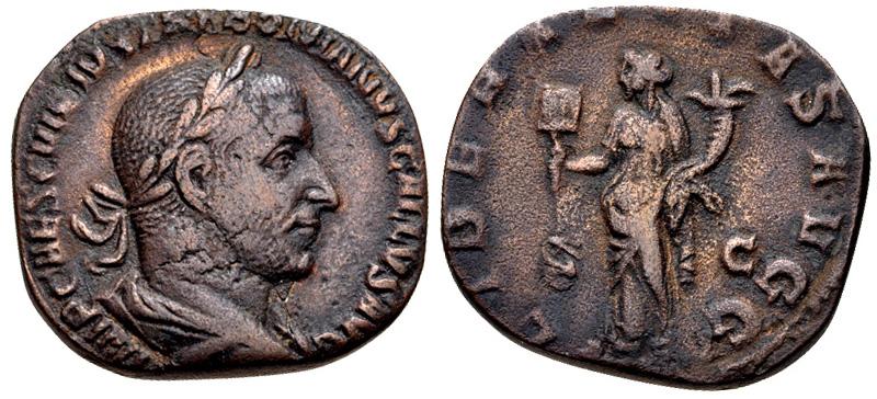 Sestercio de Treboniano Galo. LIBERALITAS AVGG. Roma 32973410