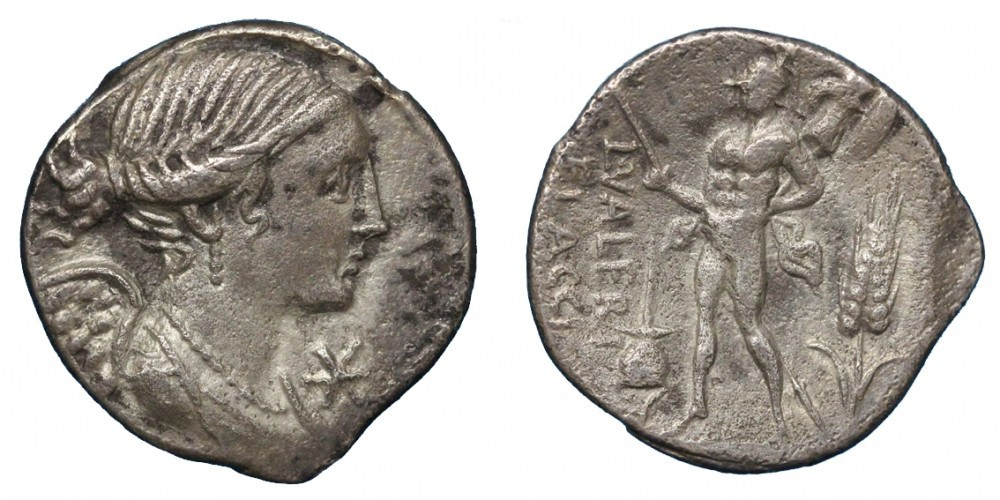Denario de la gens Valeria. L. VALERI - FLACCI.  Marte estante a izq. Roma. 34308010