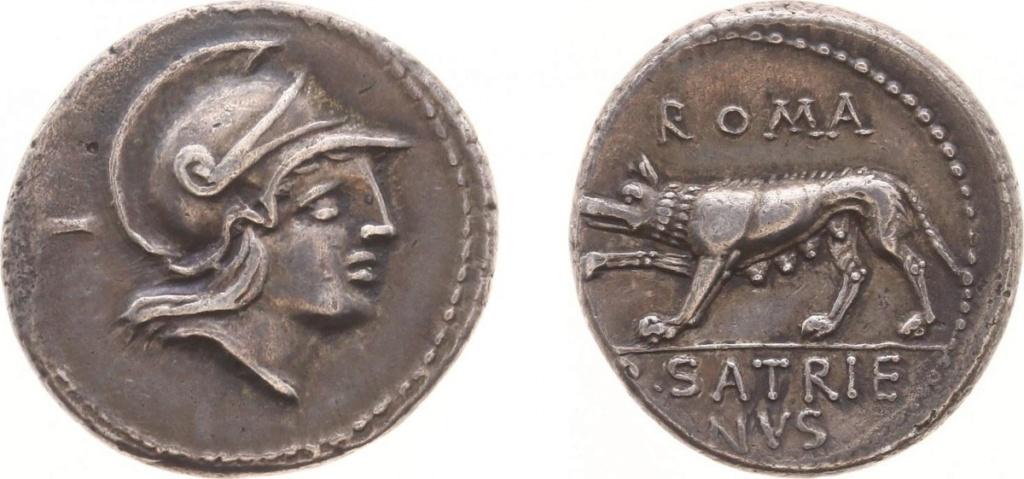 Denario de la gens Satriena. ROMA / P. SATRIE-NVS.  La loba Luperca hacia la izq. Roma. 34697810