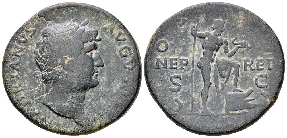 Sestercio de Adriano. COS III NEP-RED S-C . Neptuno.  Roma. 34878410