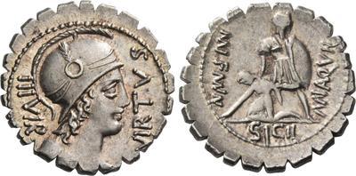 Denario de la gens Aquillia. MN. AQVIL MN. F. MN. N / SICIL. Soldado levantando a mujer arrodillada. Roma. 38861310