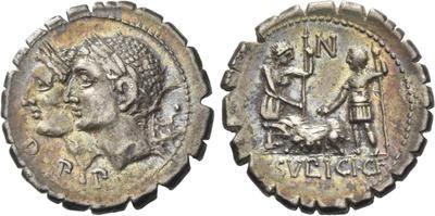 Denario de la gens Sulpicia. C. SVLPICI. C. F. Dos soldados estantes, en medio cerda. Roma. 38870510