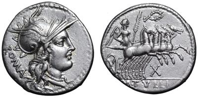 Denario de la gens Tullia. M. TVLLI.  Victoria guiando una cuádriga al galope a dcha. Roma.  43826710