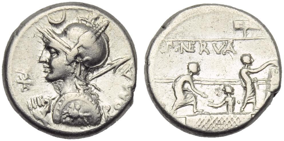 Denario de la gens Licinia. P NERVA. Tres ciudadanos romanos en el recinto de los comicios. Roma. 43861510