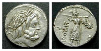 Denario de la gens Procilia. L. PROCILI. / F.  Juno Sospita Mater Regina avanzando a dcha. Roma. 43919310
