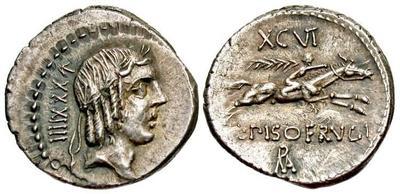 Denario de la gens Calpurnia. L PISO FRVGI. Jinete corriendo a dcha. Roma.  44061810