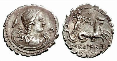 Denario de la gens Crepereia. Q. CREPEREI - ROCVS. Neptuno en una biga tirada por hipocampos. Roma.  45368210
