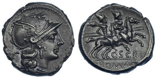 Denario de la gens Scribonia. C. SCR ROMA. Los Dióscuros a caballo a dcha. Roma. 47774610