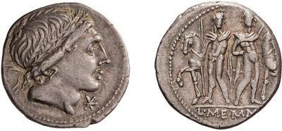 Denario de la gens Memmia. L MEMMI. Los Dióscuros estantes al lado de sus caballos. Roma. 49078910
