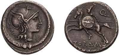 Denario de la gens Manlia. L TORQVAT / EX. S. C - Q. Soldado a caballo a la carrera a izq. Roma.  49078911