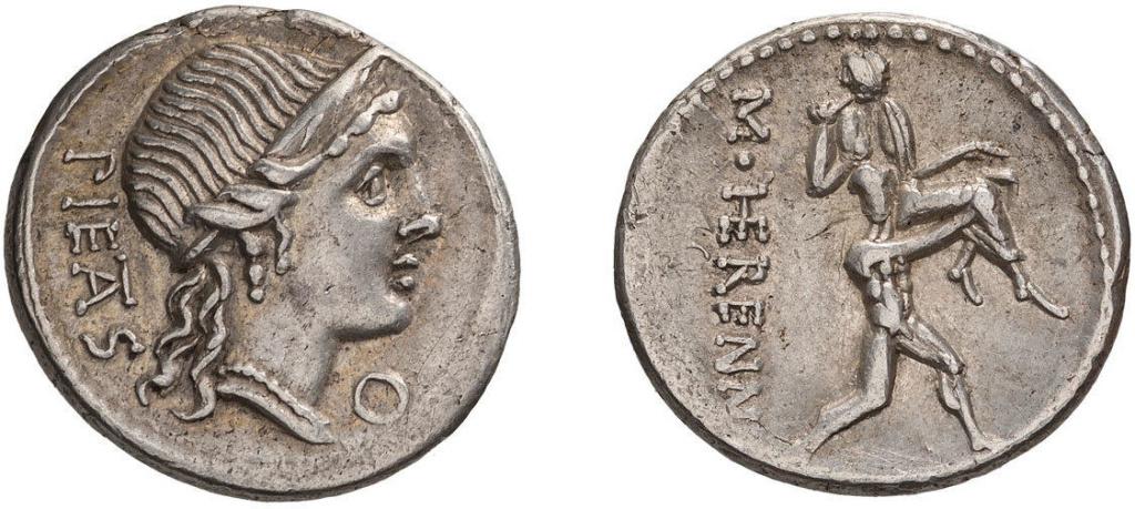 Denario de la gens Herennia. M. HERENNI. Amphinomus llevando en brazos a su padre. Roma. 49079010