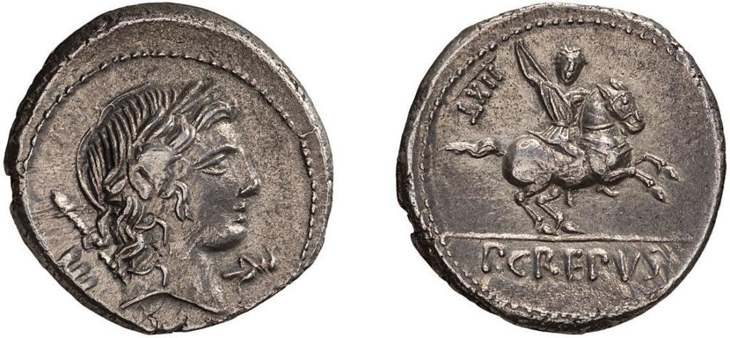 Denario de la gens Crepusia. P CREPVSI - CXXV?. Jinete a dcha. portando venablo. Roma. 49079110